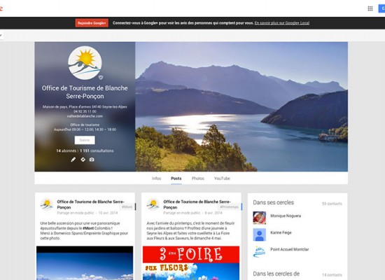 Page Google +, Vallée Blanche Serre Ponçon